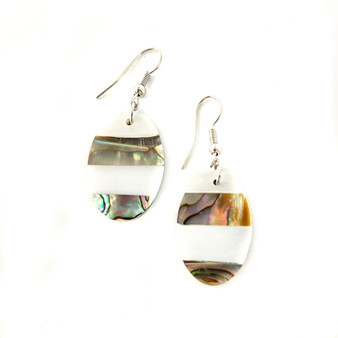 Mother of Pearl Earrings Oval Small