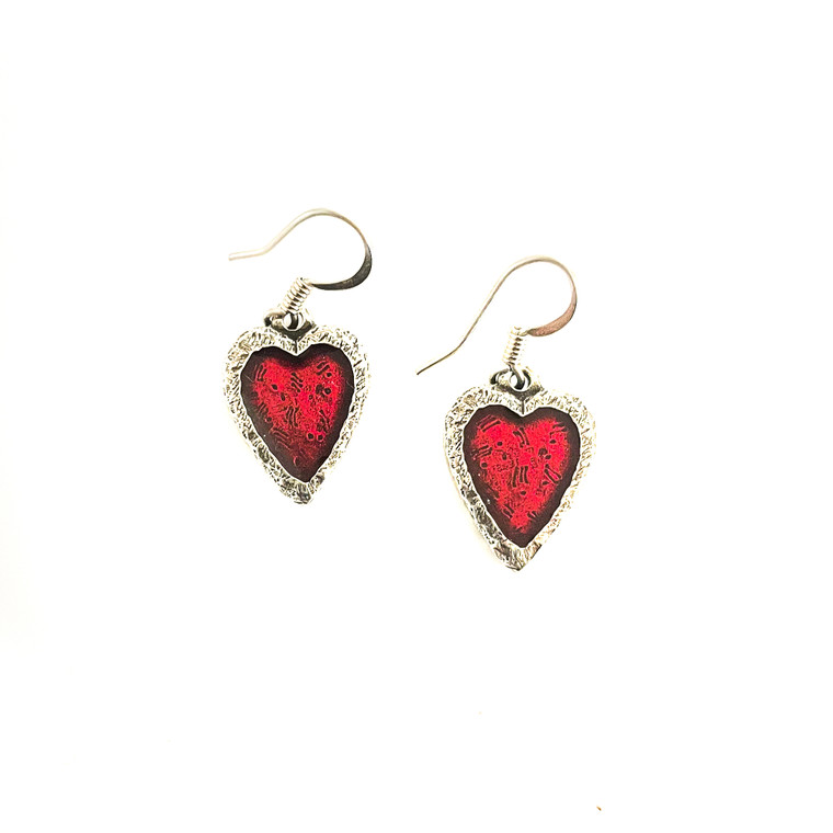 Heart Crimson Pewter Earrings
