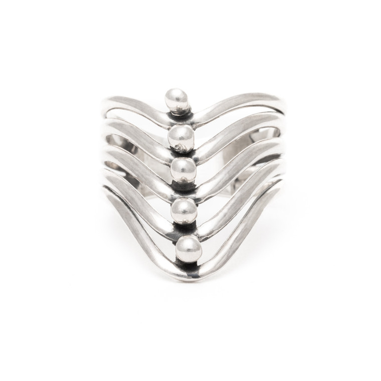 Wave with Dots Ring Sterling Silver