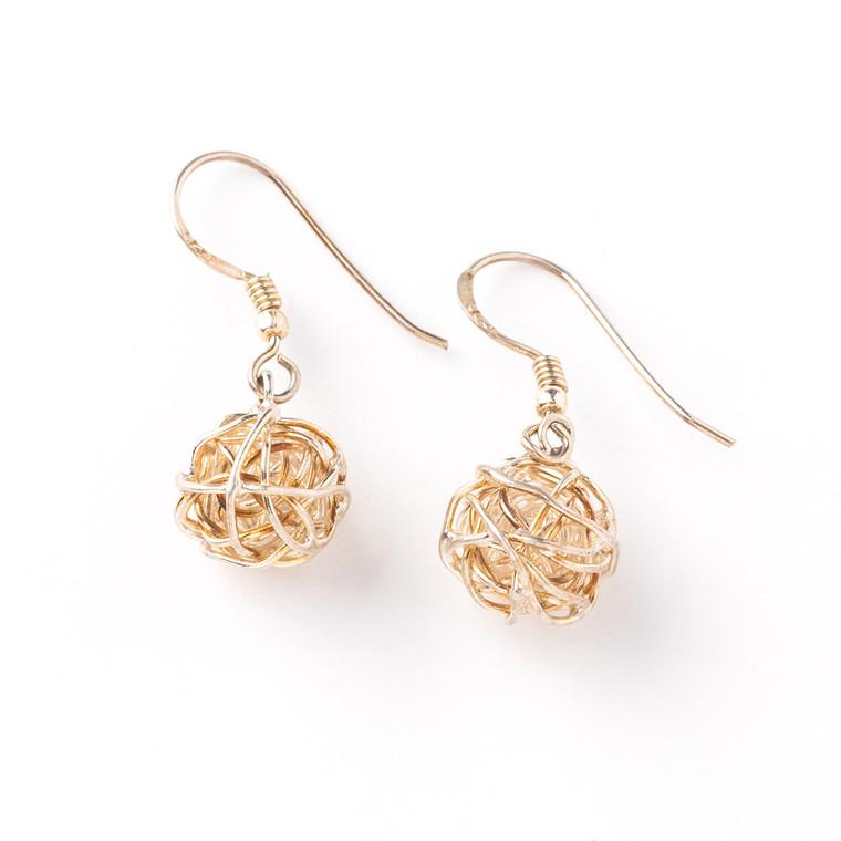 Eila Wool Boll Sterling Silver with Copper Earrings