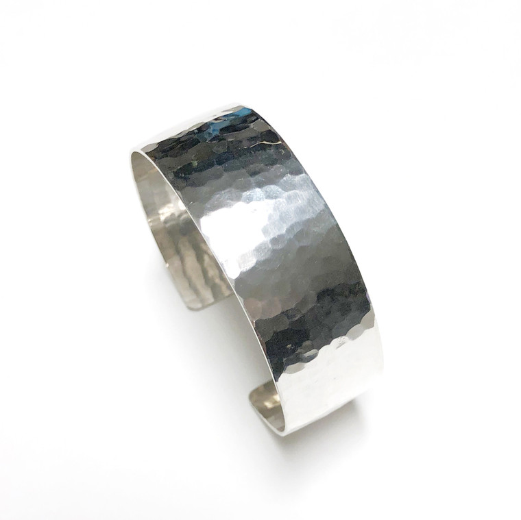Flat Hammered Sterling Silver Bracelet