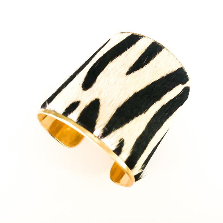 Zebra  Print Bracelet Cuff Black