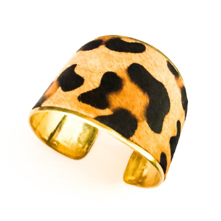 Leopard Print Bracelet Cuff Brown