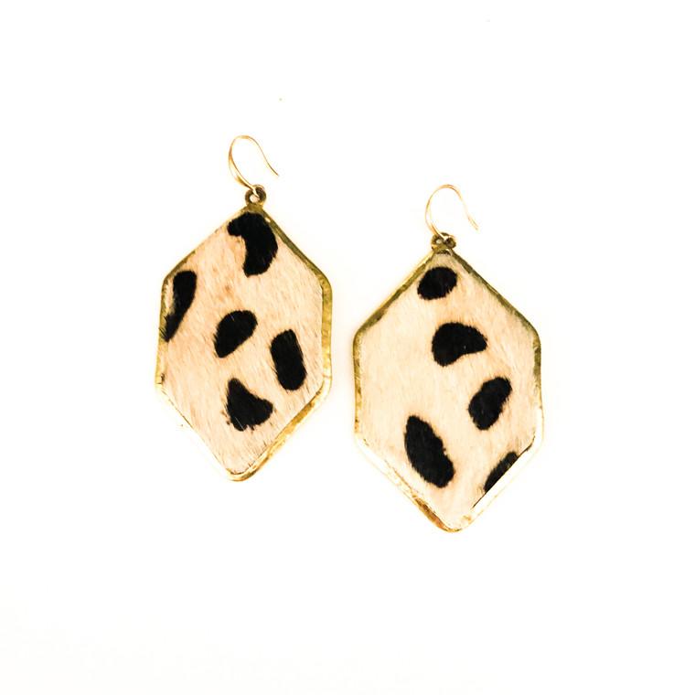 Cheeta Print Earrings Black