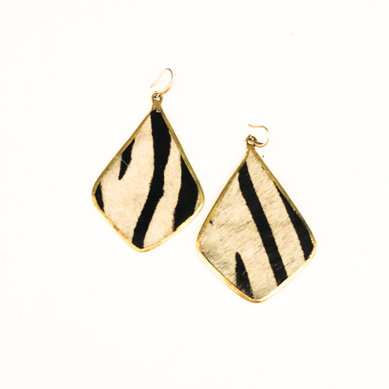 Zebra Print Earrings Black