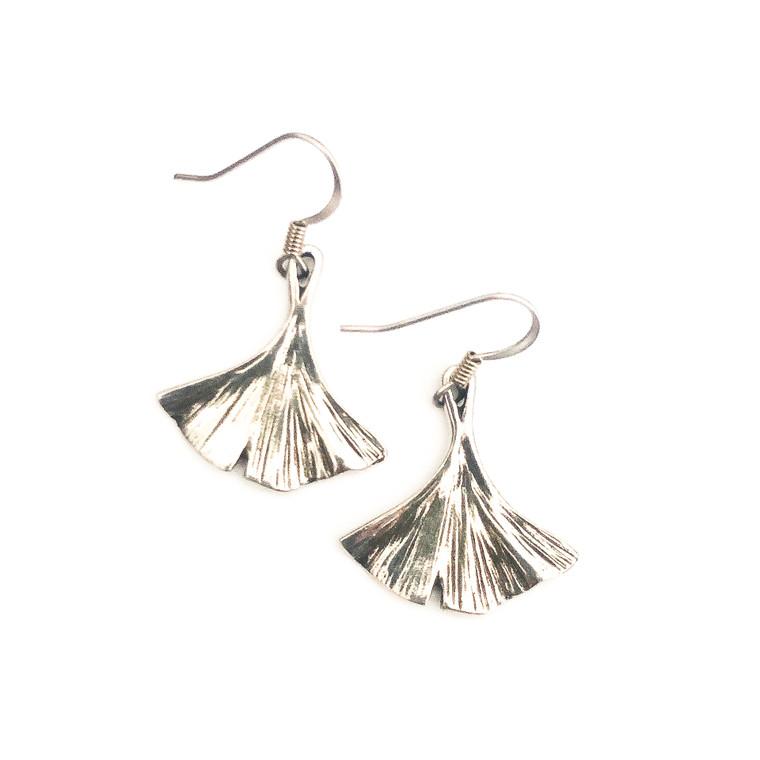 Ginkgo Pewter Earrings