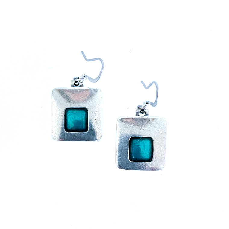 Stability Wire Pewter Earrings