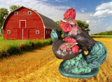 Rooster & Hen on Stump