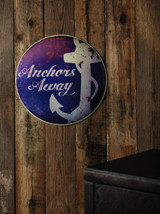 """Antiqued """"Anchors Away"""" Wall Sign"""