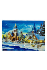 """7'' Multi-Coloured Fabric LED """"Snowy Church w/ Christmas Tree"""" Picture"""