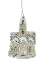 5'' Glass Brown Snow Covered Church Ornament