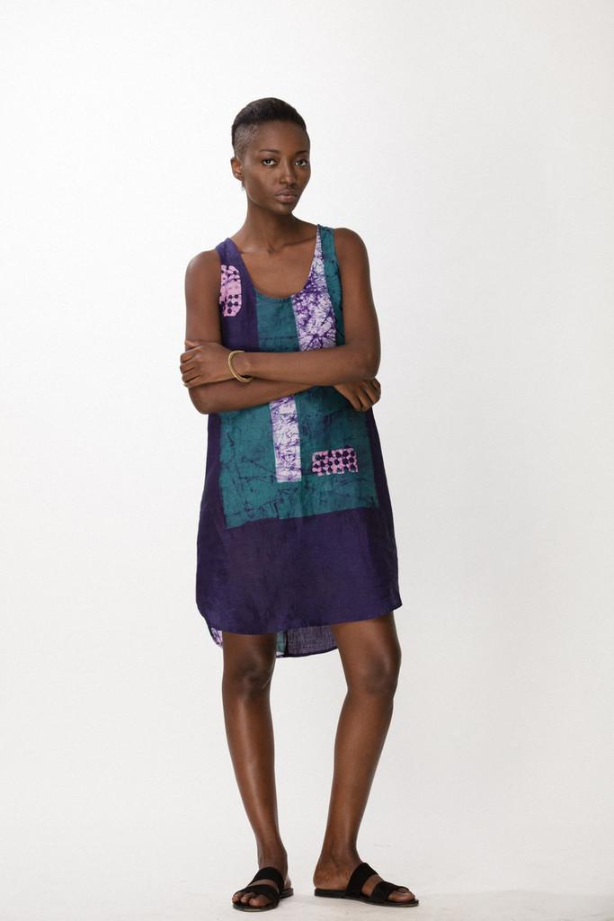 Runa Dress, Navy Rubics
