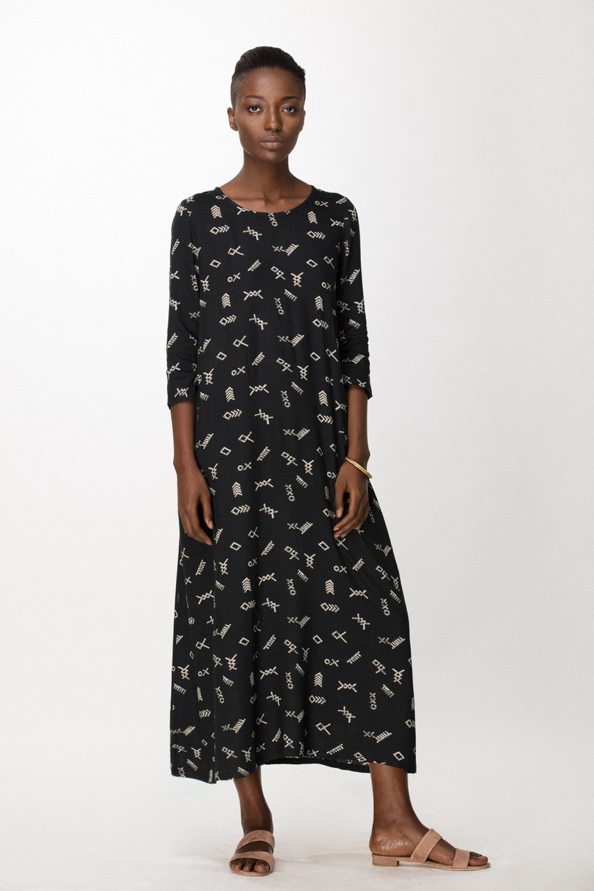 Nima Dress, Black Jot