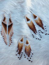 Tierra Native Collection of Artisan Made Native Bead Earrings Long Fringe Mineral Glass Beads