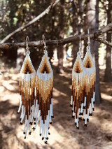 Hand Made native artisan bead earring collection with long fringe and earth tone glass beads.