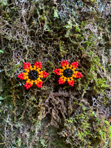 Collar Necklace - Fiery Red Flowers