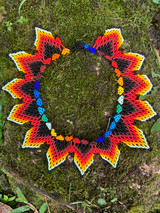 Collar Necklace - Red Lotus Flower