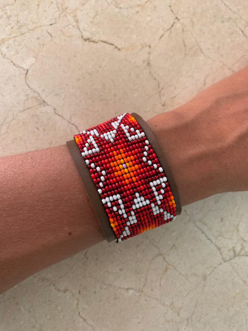 Morning Star Genuine Leather Beaded Cuff