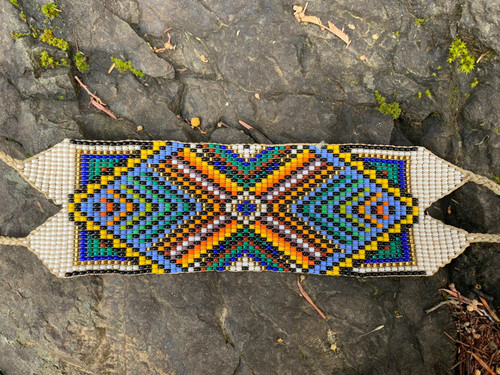 Ancestor Blessing - Wide Native Beaded Bracelet