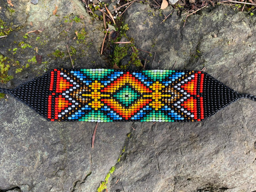 """Night Visions"" Native Seed Bead Bracelet"