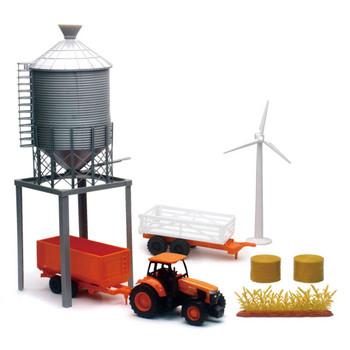 Kubota M5-111 Tractor with Wagons and Grain Bin Set