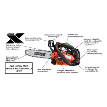 Echo 25 cc ECHO X Series Top Handle Chain Saw Features