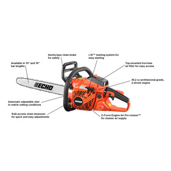 Echo 40.2 cc Chain Saw with i-30 Starter Features