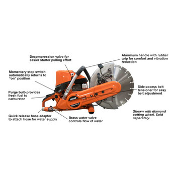 Echo 73.5 cc Cut-Off Saw Features