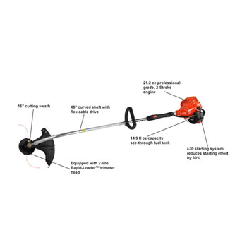 Echo 21.2 cc Curved Shaft Trimmer with i-30™ Starter Features