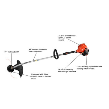 Echo 21.2 cc Curved Shaft Trimmer with i-75™ Starter Features