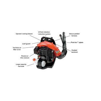 Echo 58.2 cc Backpack Blower with Tube-Mounted Throttle Features