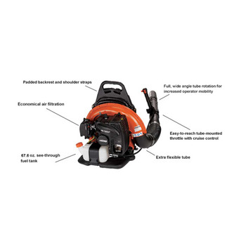 Echo 63.3 cc Backpack Blower with Tube-Mounted Throttle Features