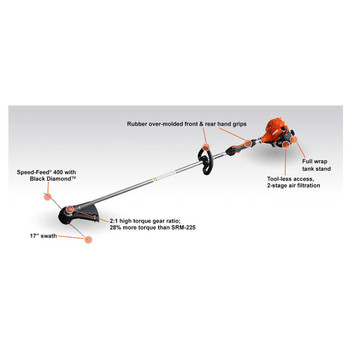 Echo 21.2cc Straight Shaft Trimmer with High Torque Gear Box Features