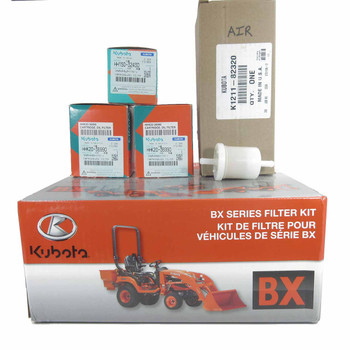 Kubota 77700-05386 BX Series Filter Kit. Fits: BX1870, BX2370. Filter Kit includes Engine, Transmission, Outer Air and Fuel Filters.