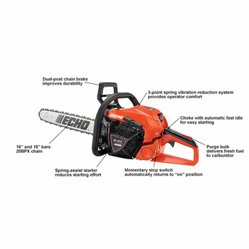 "Echo CS-4510-18 45 cc Rear Handle Chain Saw with 18"" Bar Callout"