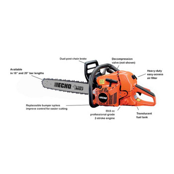 Echo 59.8 cc Farm and Ranch Chain Saw Features