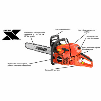 """Echo CS-620PW-24 59.8 cc ECHO X Series Performance Cutting System Chain Saw with Wrap Handle and 24"""" Bar"""