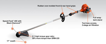 Echo SRM-2320T 1.2cc Straight Shaft Trimmer with High Torque Gear Box Callout