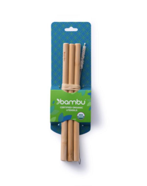 Original Green Bamboo Straws Set Of 6