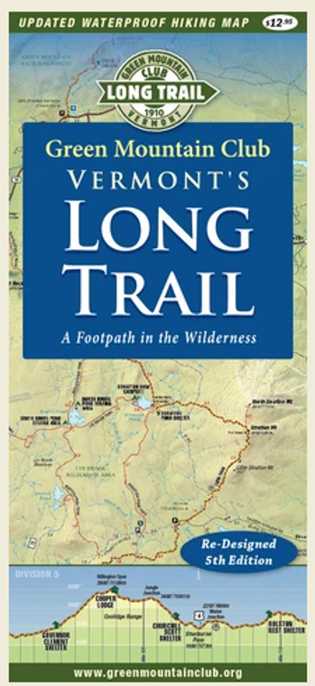 Vermont's Long Trail Waterproof Hiking Trail Map 5th Edition