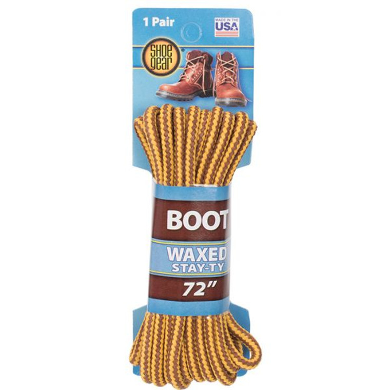 """Waxed Boot Laces 72"""" Brown Gold"""