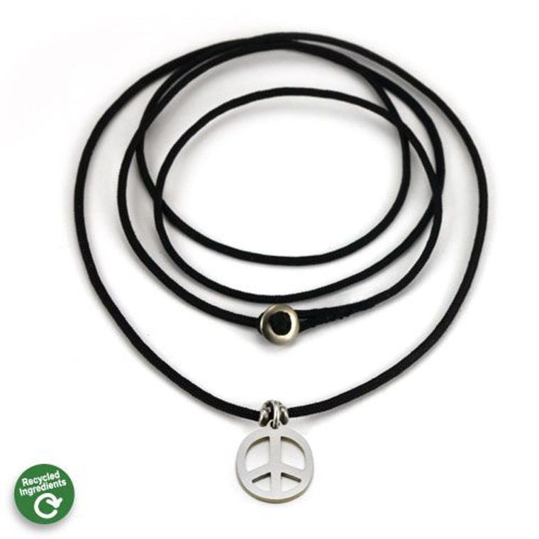 Peace Charm   Stainless Steel   1.5MM Polycord