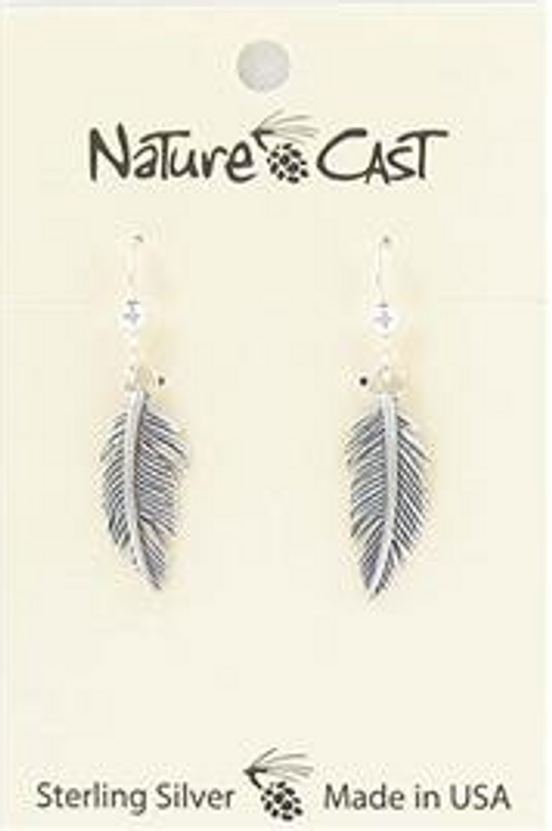 Nature Cast Dangle Earring Sterling Silver Feather