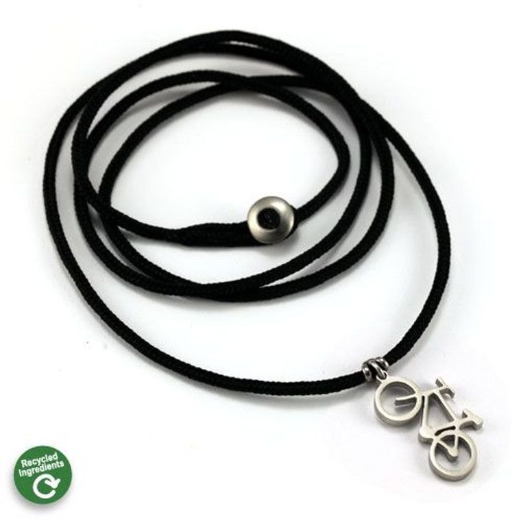 Mountain Bike Pendant | Stainless Steel | 2MM Polycord