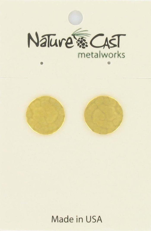 Nature Cast Post Gold Tone Hammered Circle Earrings