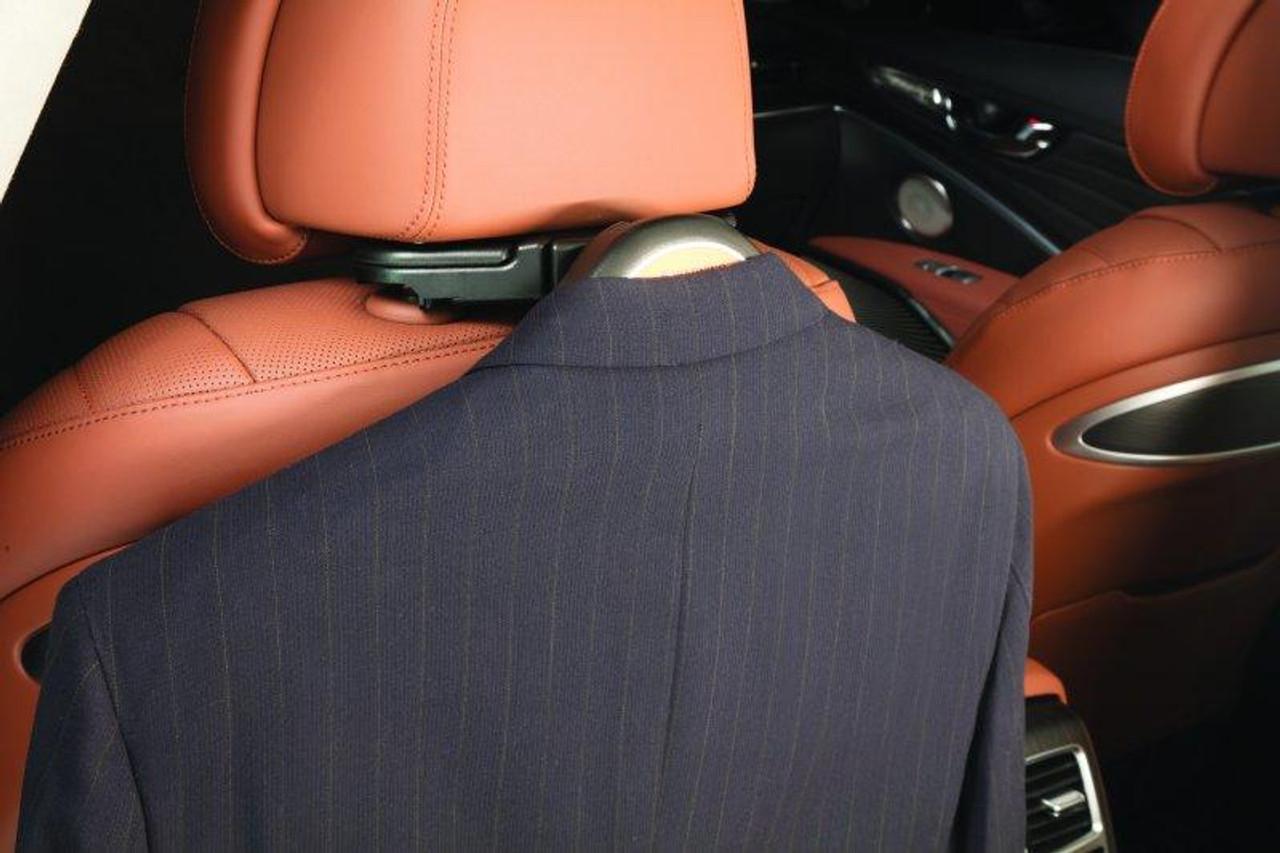 kia coat hanger attachment behind driver's seat holding coat