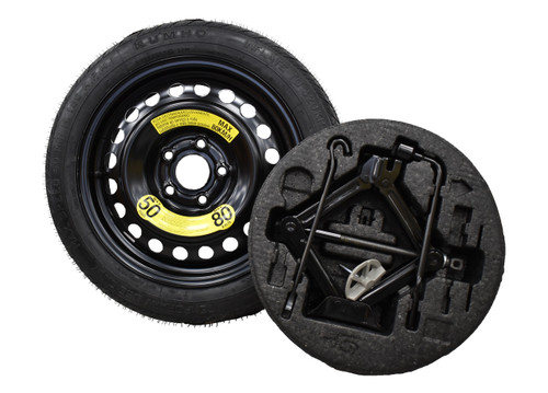 2012-2017 Kia Rio Spare Tire Kit - Shown With Mounted Tire, Image is a representation.
