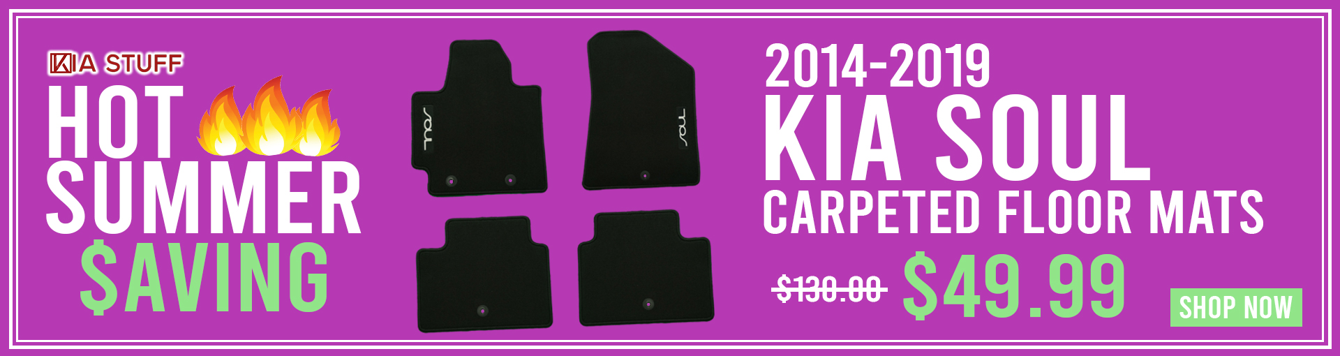 Hot Summer Savings: 2014-2019 Kia Soul Carpeted Floor Mats