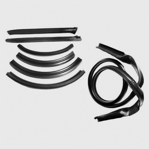 Mopar B Body 62-65 Convertible Top Rood Rail Sections & Header Weatherstrip Seal Set