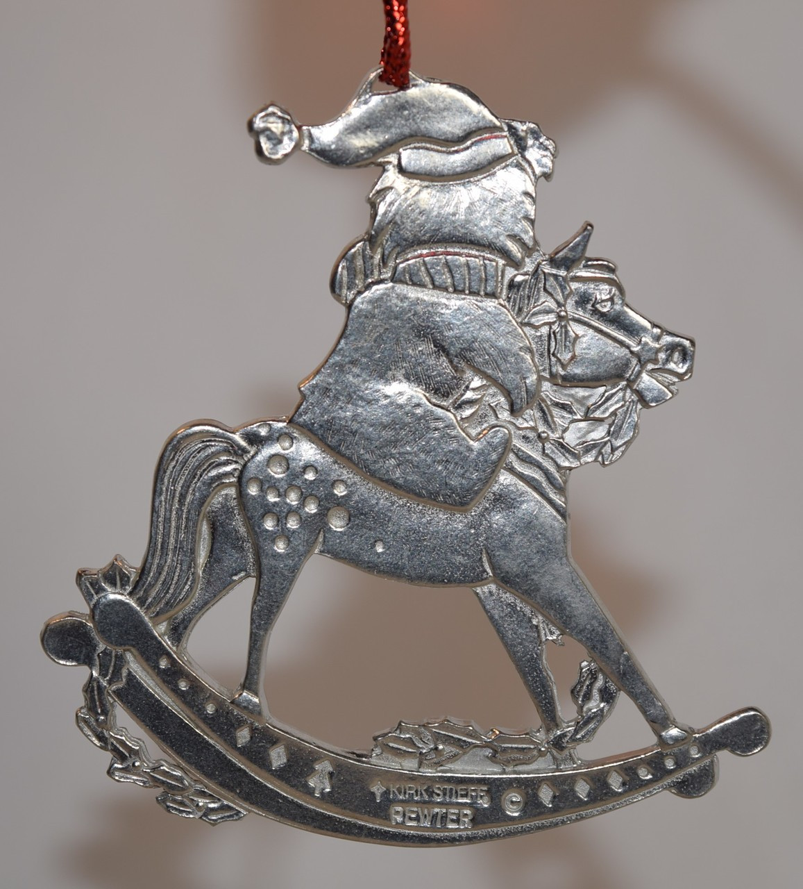 Kirk Stieff Pewter Teddy Bear On Rocking Horse Ornament Ornament Only Thurbers Of Richmond